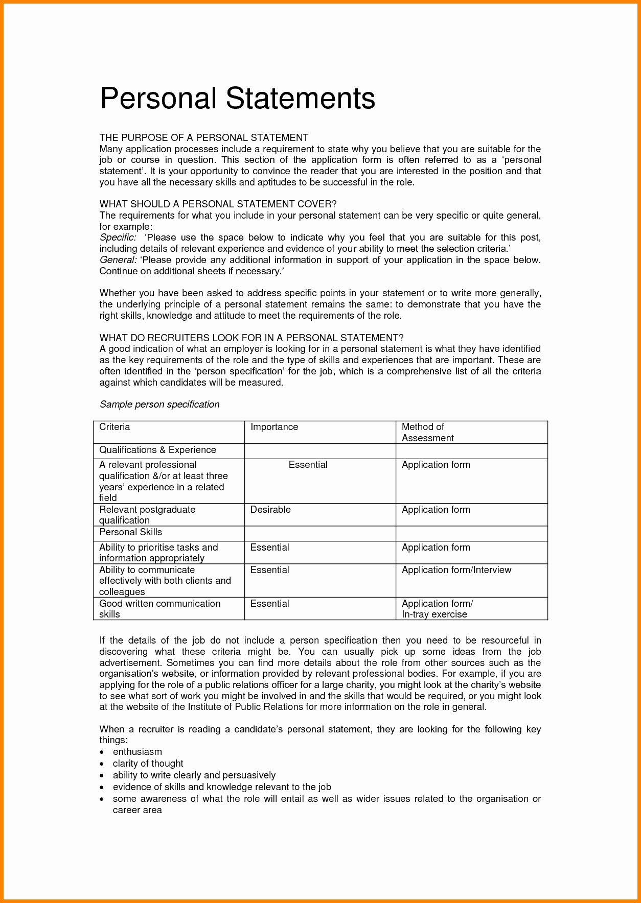 Statement Of Qualifications Template Free Elegant 7 Personal Statement Of Qualifications Template