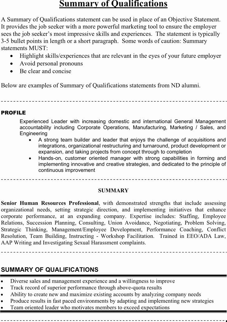 Statement Of Qualifications Template Free New Free Summary Of Qualifications Example Pdf 26kb