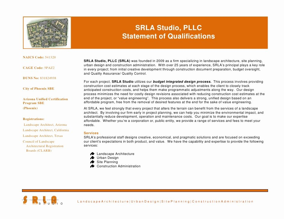 Statement Of Qualifications Template Free New Srla Statement Of Qualifications 2010