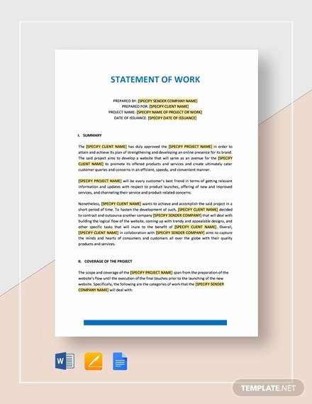 Statement Of Work Template Word Awesome Free 10 Statement Of Work Samples In Google Docs
