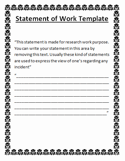 Statement Of Work Template Word Lovely 6 Statement Of Work Done Templates