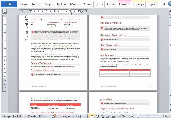 Statement Of Work Word Template Awesome Statement Work Template for Microsoft Word