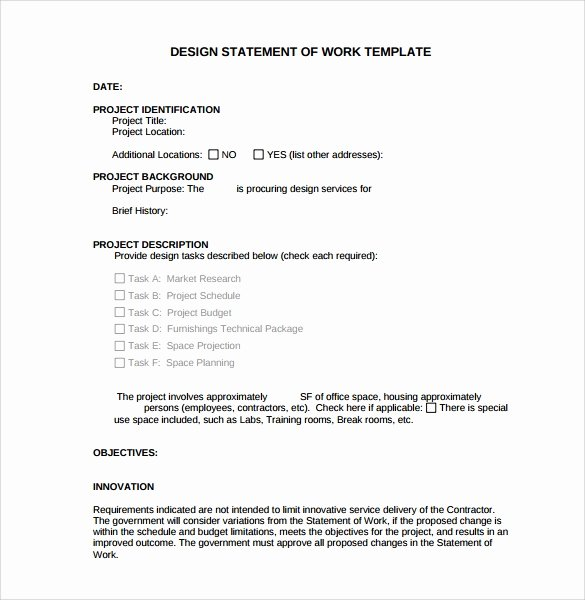 Statement Of Work Word Template Beautiful Free 13 Statement Of Work Templates In Google Docs