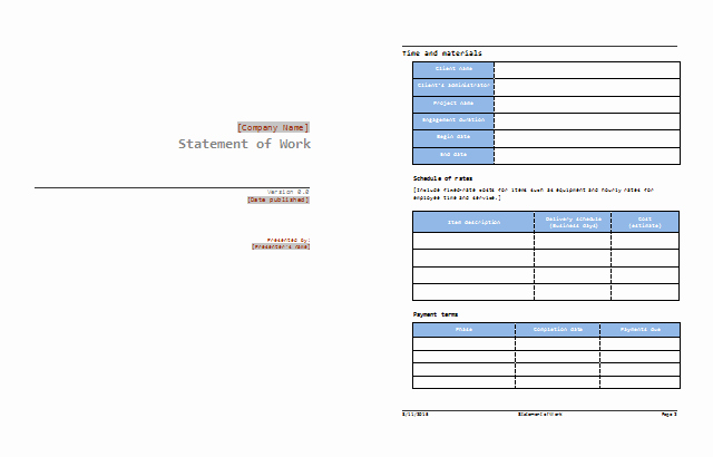 Statement Of Work Word Template Beautiful Statement Of Work Template Best sow Examples