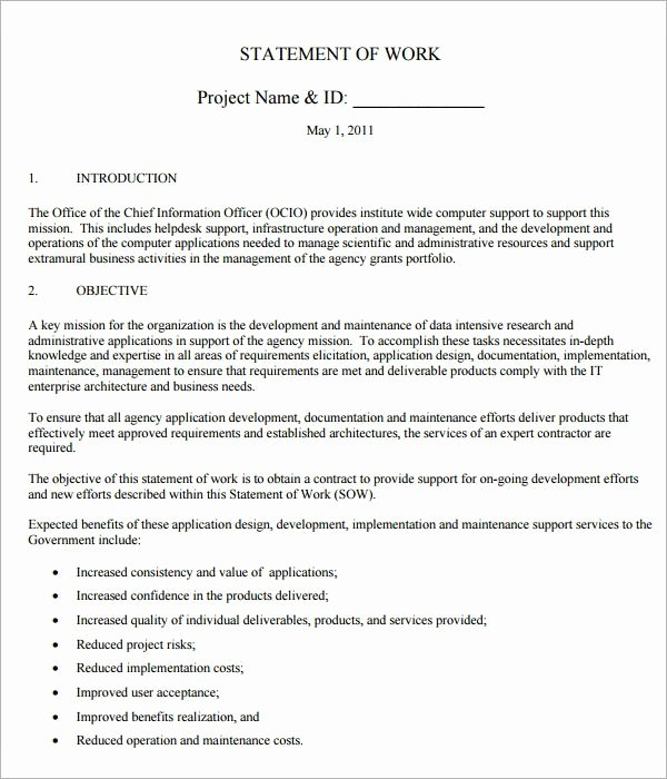 Statement Of Work Word Template Best Of Free 13 Statement Of Work Templates In Google Docs