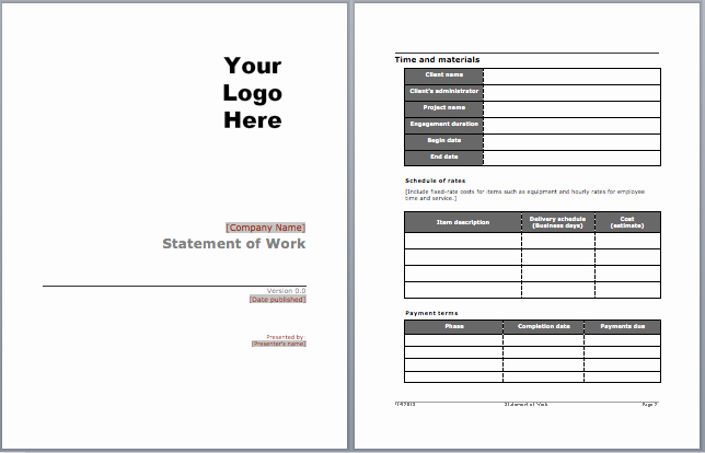 Statement Of Work Word Template Best Of Statement Of Work Template Microsoft Word Templates