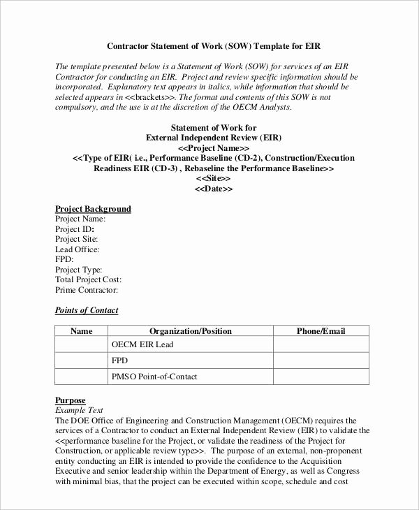 Statement Of Work Word Template Fresh Free 20 Statement Of Work Examples & Samples In Pdf