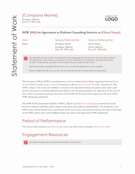 Statement Of Work Word Template Fresh Statement Of Work Red Design