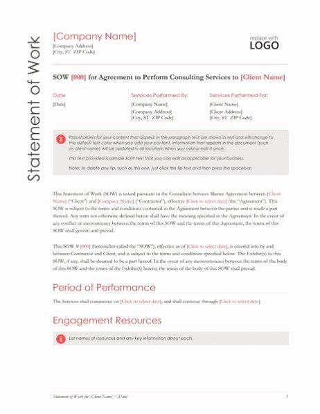 Statement Of Work Word Template Fresh Statement Of Work Red Design