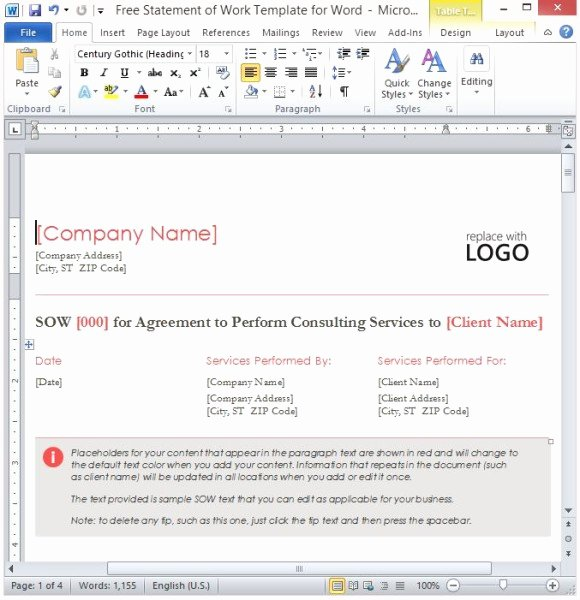 Statement Of Work Word Template Inspirational Free Statement Work Template for Word
