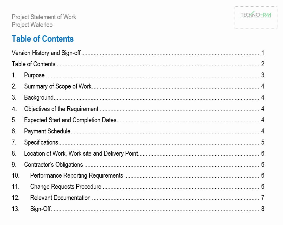Statement Of Work Word Template Inspirational Statement Of Work sow Templates Word and Pdf Free