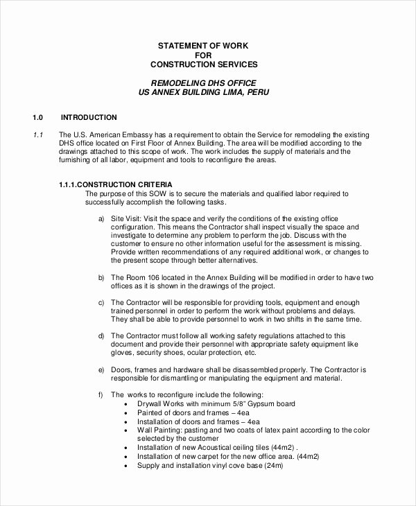 Statement Of Work Word Template Lovely Statement Of Work Template 13 Free Pdf Word Excel