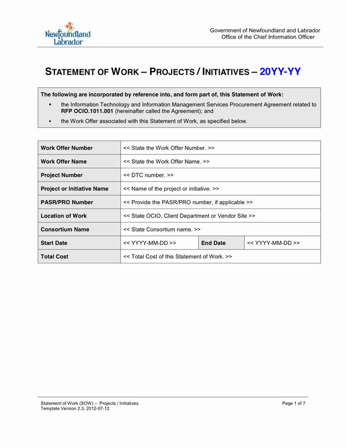 Statement Of Work Word Template Luxury Statement Of Work Template In Word and Pdf formats