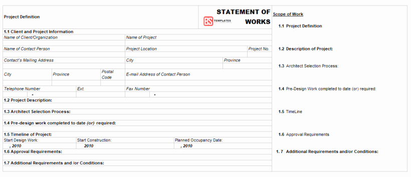 Statement Of Work Word Template Unique Statement Of Work sow – Examples Samples