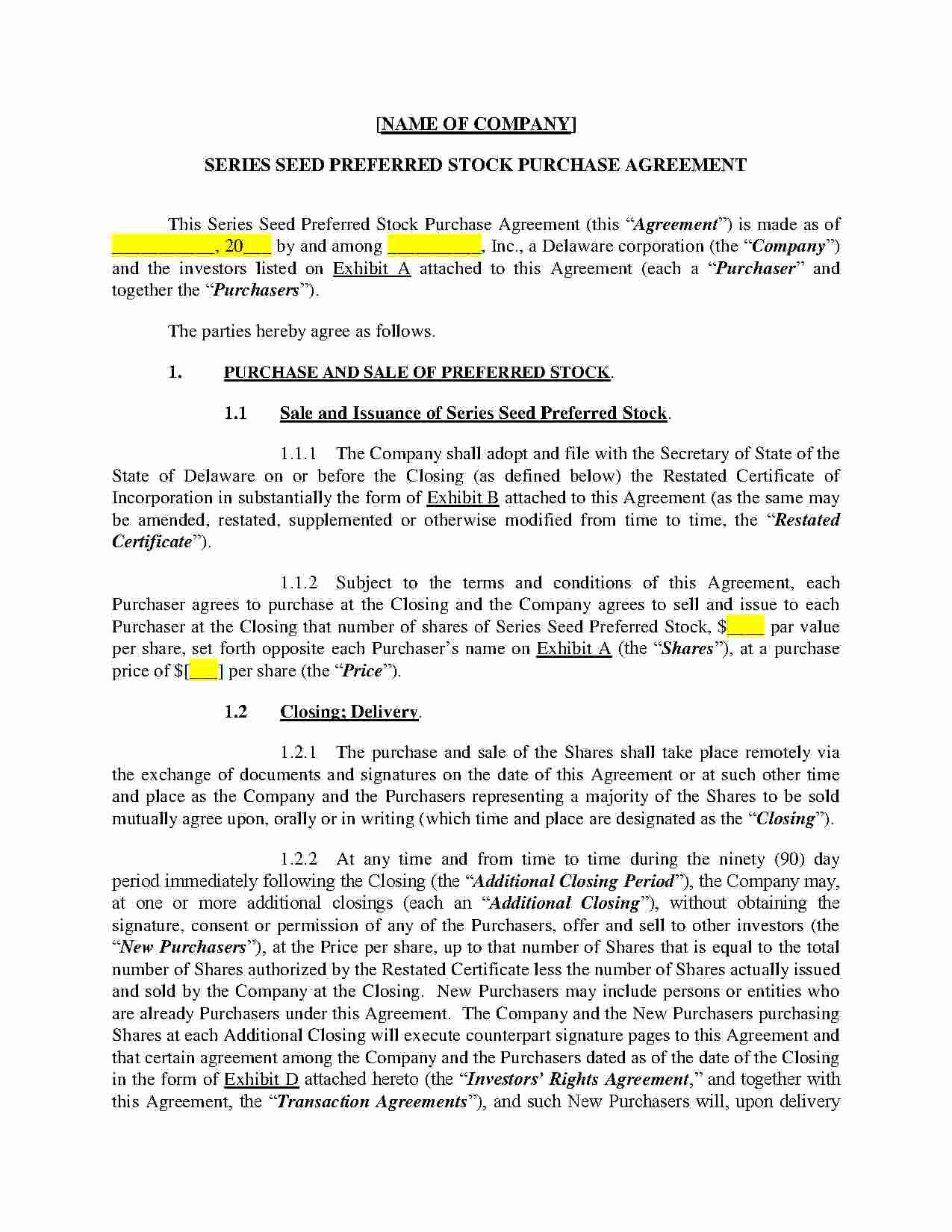 Stock Purchase Agreement Template Awesome Download Stock Purchase Agreement Style 3 Template for