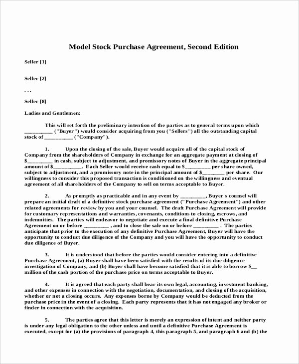 Stock Purchase Agreement Template Awesome Sample Stock Purchase Agreement form 7 Free Documents