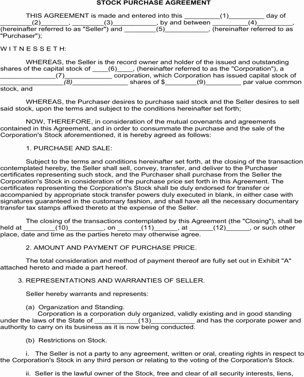 Stock Purchase Agreement Template Beautiful Download Stock Purchase Agreement for Free formtemplate