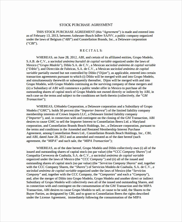 Stock Purchase Agreement Template Best Of Stock Purchase Agreement 8 Download Documents In Pdf Word