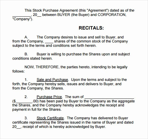 Stock Purchase Agreement Template Best Of Stock Purchase Agreement Template 12 Free Documents In