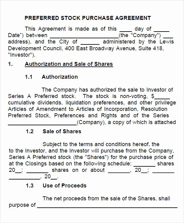 Stock Purchase Agreement Template Elegant Free 11 Stock Purchase Agreement Templates In Google Docs