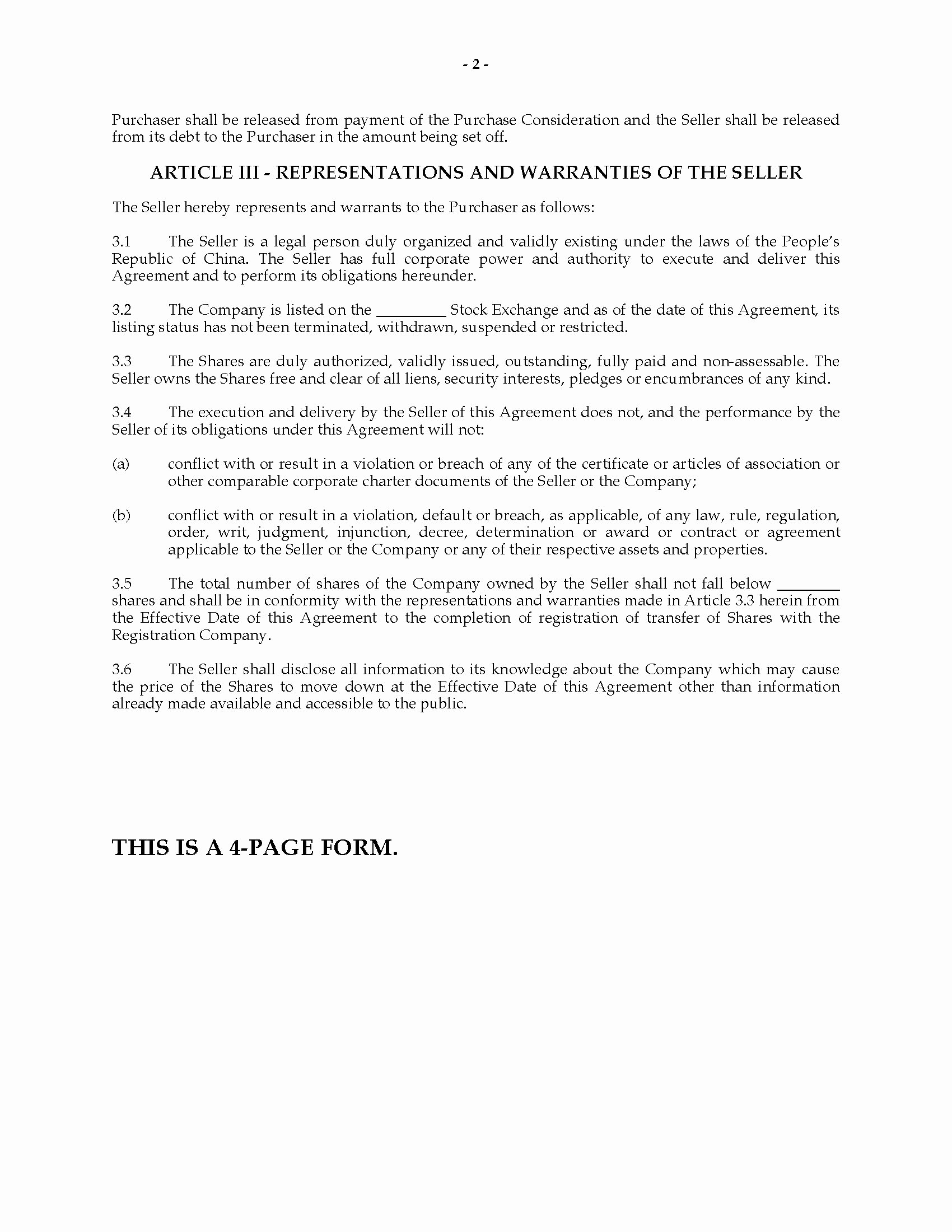 Stock Purchase Agreement Template Fresh China Stock Purchase Agreement