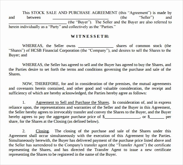 Stock Purchase Agreement Template Fresh Stock Purchase Agreement Template 12 Free Documents In