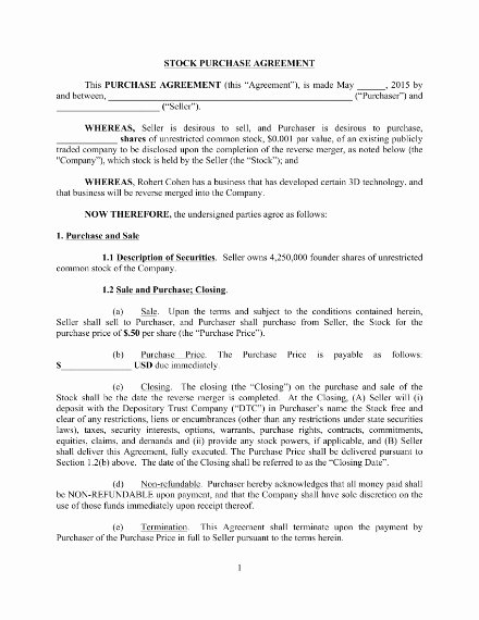 Stock Purchase Agreement Template Inspirational 10 Stock Purchase Agreement Templates Word Google Docs