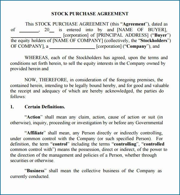 stock purchase agreement california