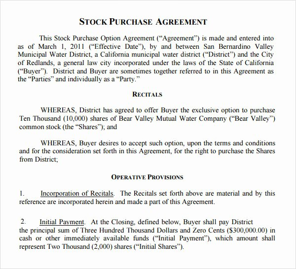Stock Purchase Agreement Template Lovely Free 11 Stock Purchase Agreement Templates In Google Docs