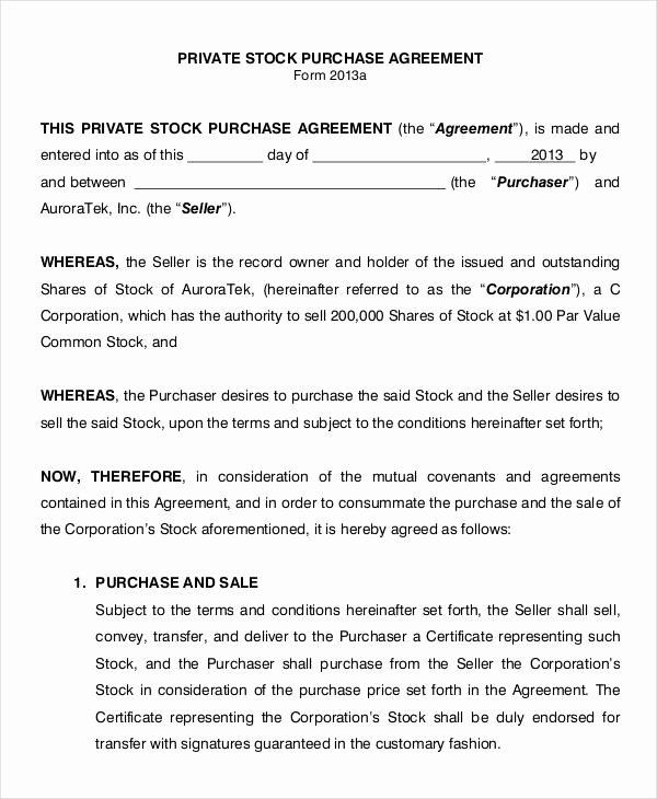 Stock Purchase Agreement Template Luxury 11 Stock Purchase Agreement form Samples Free Sample
