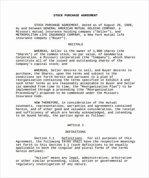 Stock Purchase Agreement Template Unique Free 11 Stock Purchase Agreement Templates In Google Docs