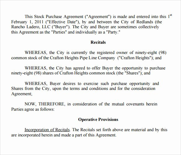 Stock Purchase Agreement Template Unique Stock Purchase Agreement Template 12 Free Documents In
