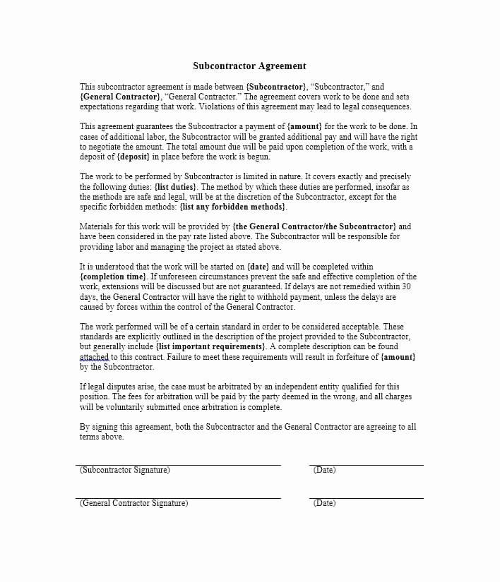 Subcontractor Contract Template Free Awesome Need A Subcontractor Agreement 39 Free Templates Here