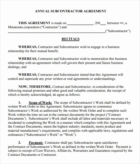 Subcontractor Contract Template Free Awesome Sample Subcontractor Agreement – 7 Example format