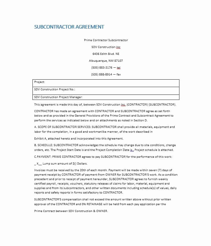 Subcontractor Contract Template Free Beautiful Need A Subcontractor Agreement 39 Free Templates Here