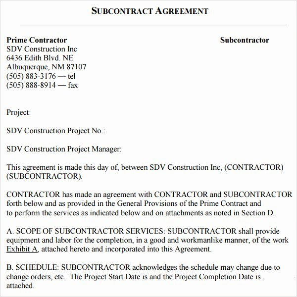 Subcontractor Contract Template Free Beautiful Subcontractor Agreement Template