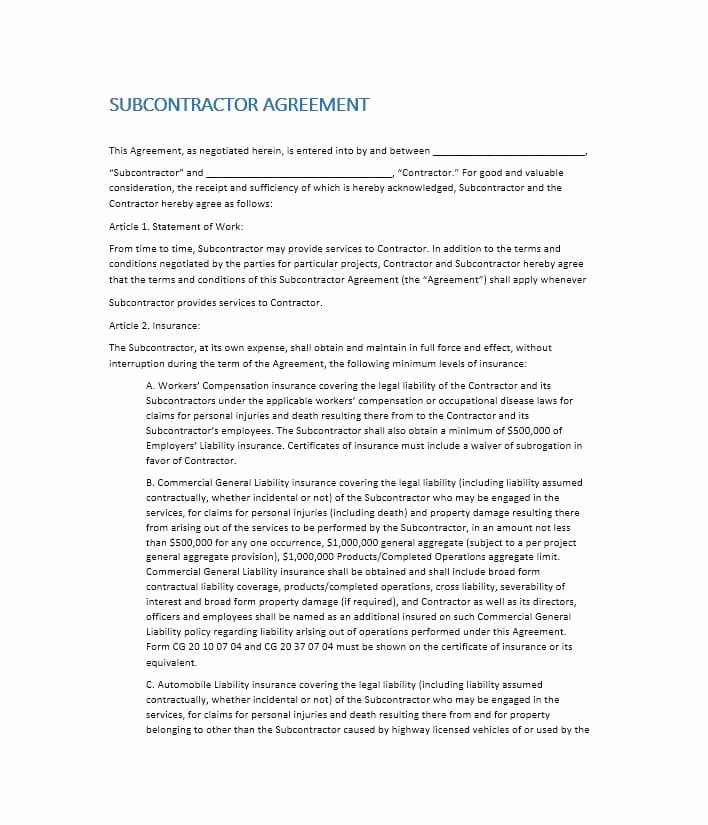 Subcontractor Contract Template Free Best Of Need A Subcontractor Agreement 39 Free Templates Here