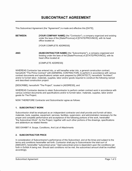 Subcontractor Contract Template Free Fresh Working with Subcontractors