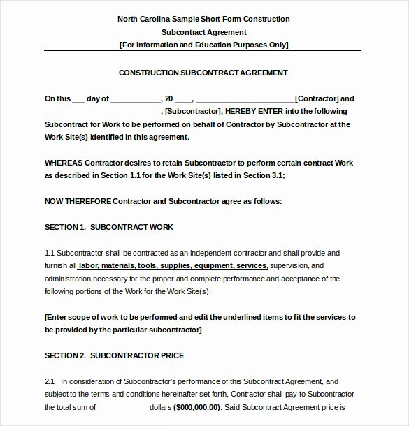 Subcontractor Contract Template Free Inspirational 17 Subcontractor Agreement Templates Word Pdf Pages