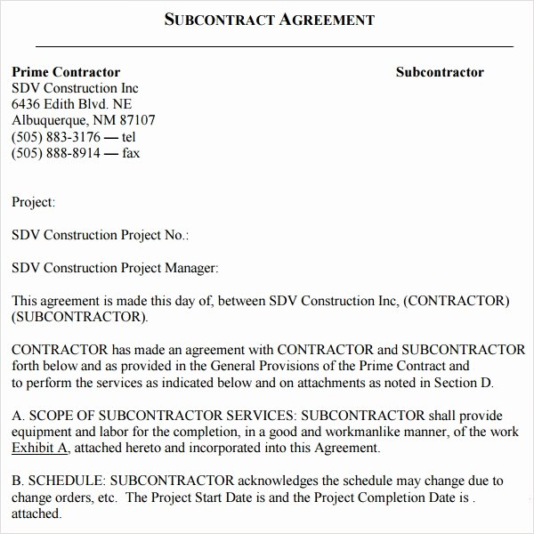 Subcontractor Contract Template Free Lovely Free 17 Subcontractor Agreement Templates In Pdf