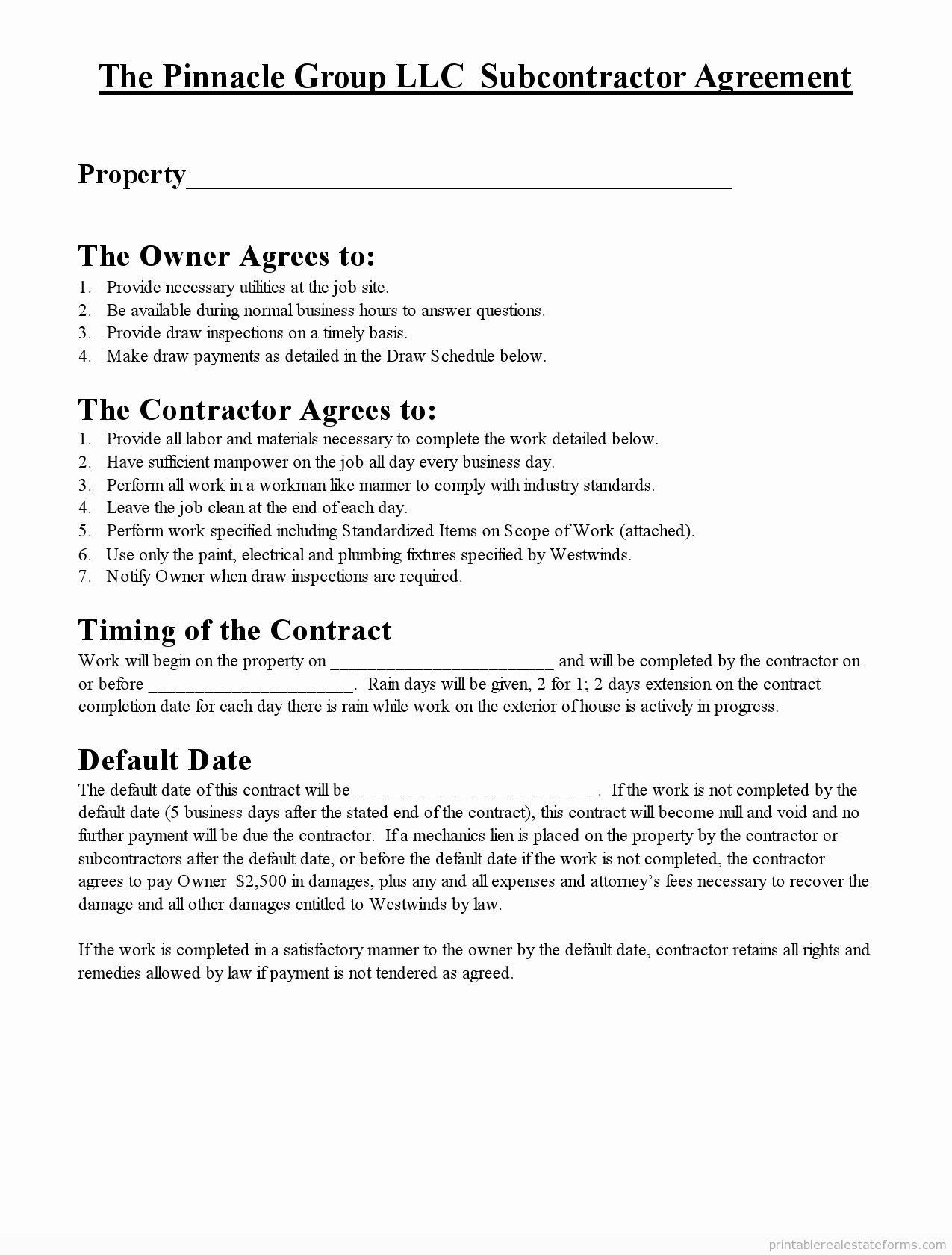 Subcontractor Contract Template Free Lovely Free Printable Subcontractor Agreement form