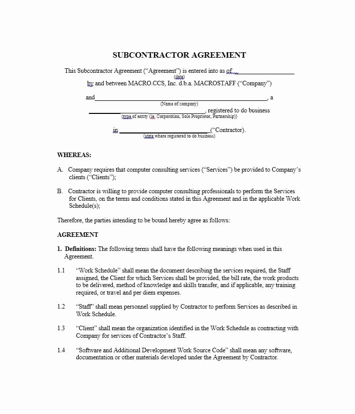Subcontractor Contract Template Free Luxury Need A Subcontractor Agreement 39 Free Templates Here
