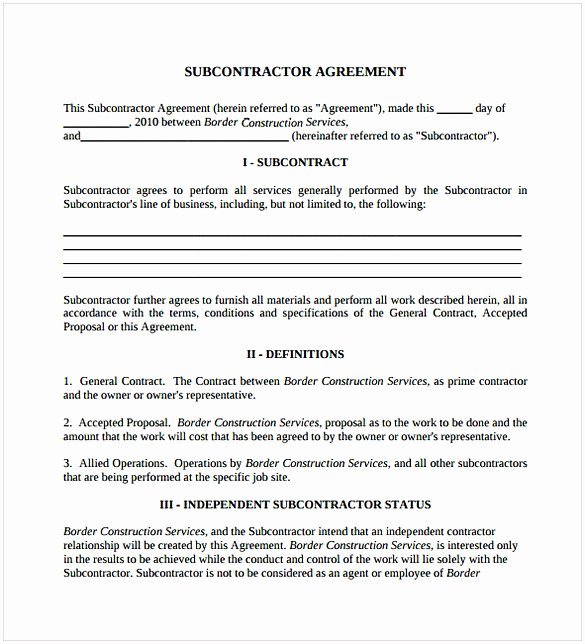 Subcontractor Contract Template Free Luxury Subcontractor Agreement Pdf