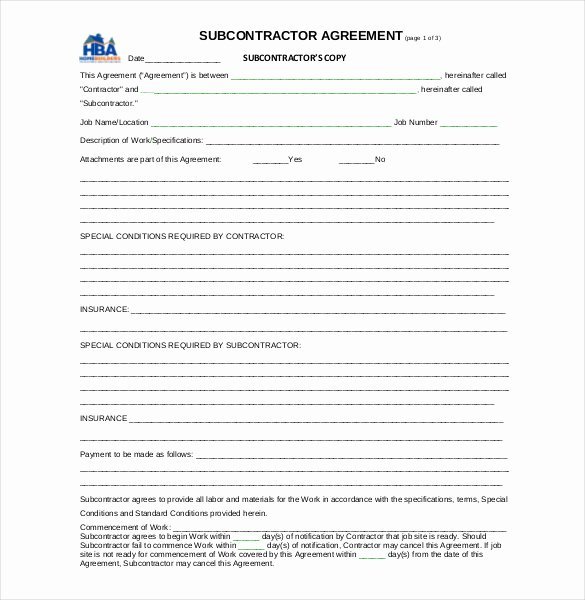Subcontractor Contract Template Free New Basic Subcontractor Agreement Sample
