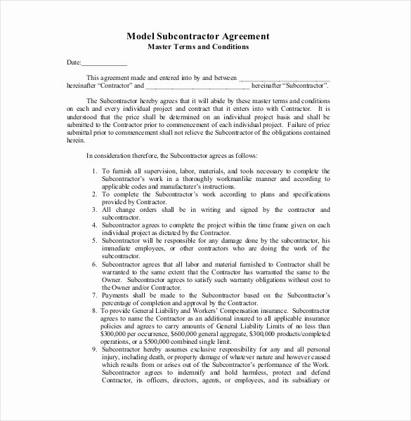 Subcontractor Contract Template Free New Sample Subcontractor Agreement