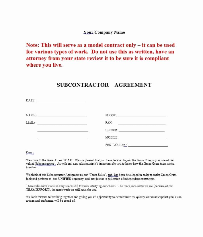 Subcontractor Contract Template Free New Subcontractor Agreement