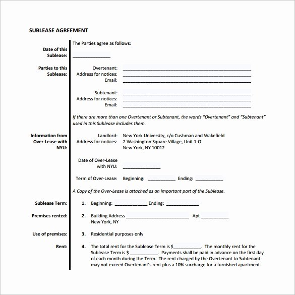 Sublease Agreement Template Word Awesome Free 25 Sample Free Sublease Agreement Templates In