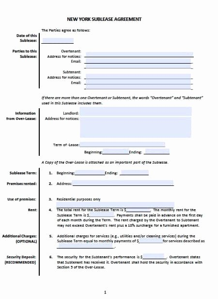 Sublease Agreement Template Word Awesome Free New York Sublease Agreement Templates – Pdf – Word