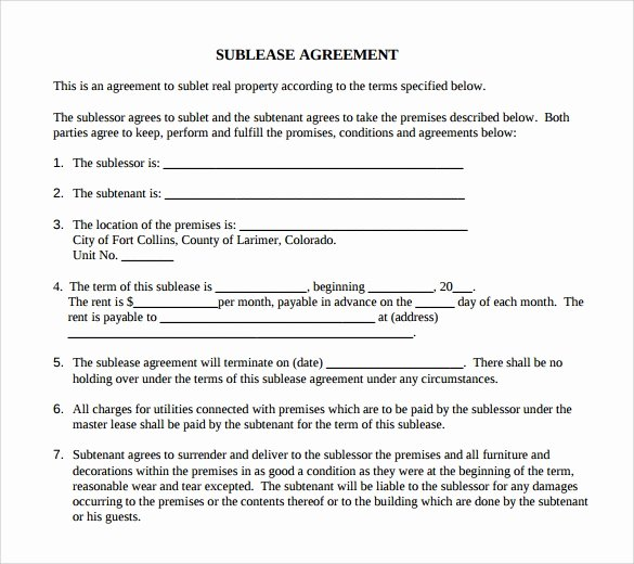 Sublease Agreement Template Word Awesome Sample Basic Lease Agreement 9 Documents In Pdf