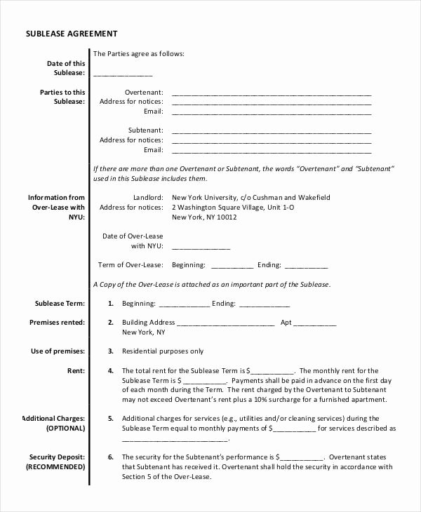 Sublease Agreement Template Word Best Of 13 Sublease Agreement Templates Word Pdf Pages